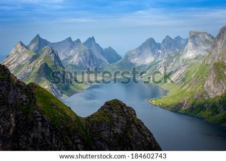 Beautiful Norwegian landscape/Lofoten /view of the fjords - stock photo