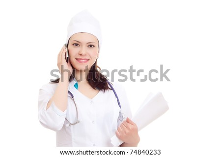 Beautiful nurse tells by phone  case record on white background - stock photo