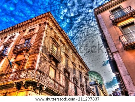 beautiful od buildings at Figueres town in Spain. HDR processed - stock photo