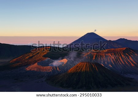 Beautiful of nature with volcanoes in Bromo Tengger Semeru National Park at sunrise,  East Java of Indonesia - stock photo