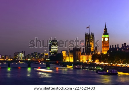 Beautiful old and modern buildings in London city at Night, UK, United Kingdom - stock photo