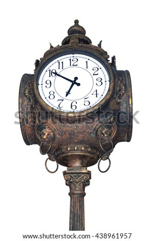 Beautiful old and vintage clock isolated on white background. - stock photo