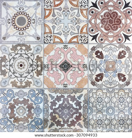 Beautiful old ceramic tile wall patterns in the park public. - stock photo