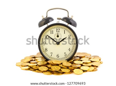 Beautiful old clock staying on one golden coins. Time is money concept isolated on white background. - stock photo