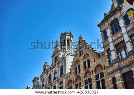 Beautiful old facades of Bruges / Historic old town in Belgium / Beautiful houses - stock photo