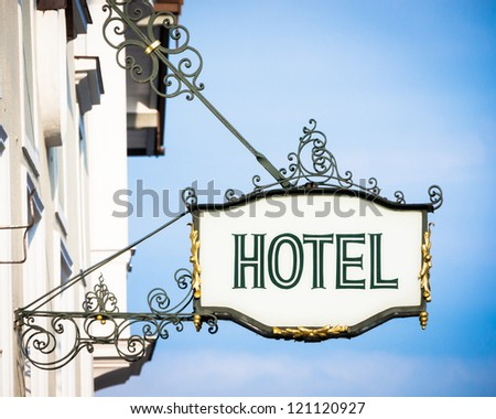 beautiful old hotel sign in vienna - stock photo