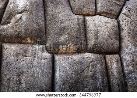 beautiful old Inca wall close up - stock photo