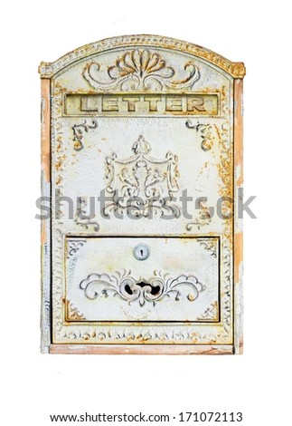 Beautiful old mailbox hanging on the wall . - stock photo