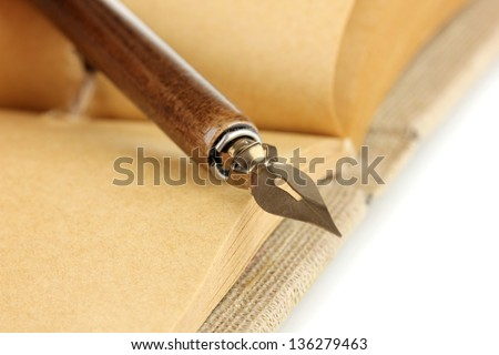Beautiful old notebook close up - stock photo