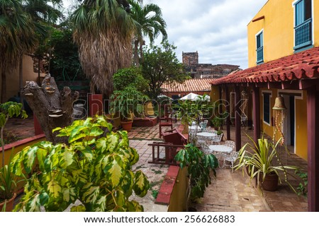 beautiful old patio in the Trinidad - stock photo