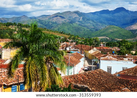 beautiful old Trinidad mountains in the background - stock photo