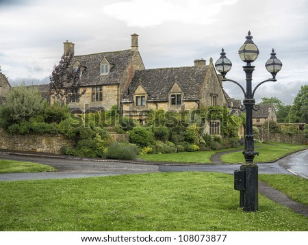 Beautiful old villa in the village Chipping Campden, Cotswold, United Kingdom. - stock photo