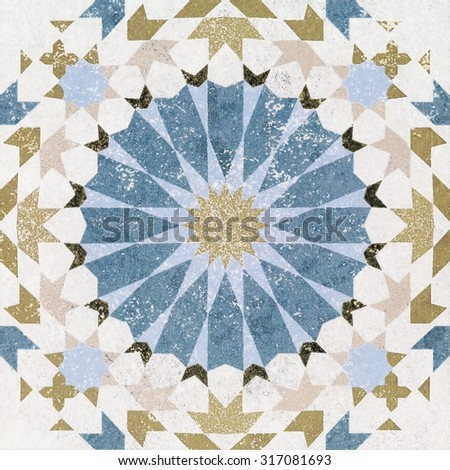 Beautiful old wall ceramic tiles patterns in the park public. - stock photo