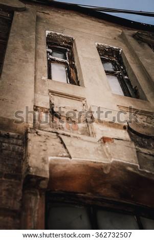 beautiful old windows - stock photo