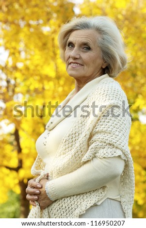 Beautiful old woman stands on a background of yellow leaves - stock photo