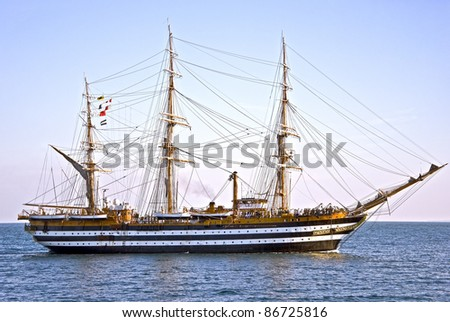 beautiful old wooden sailing vessel - stock photo