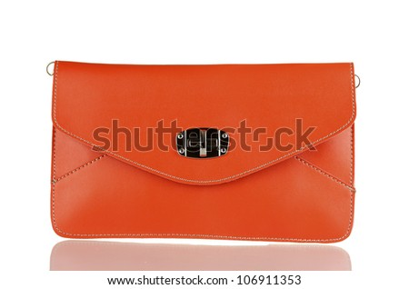 beautiful orange leather woman bag isolated on white - stock photo