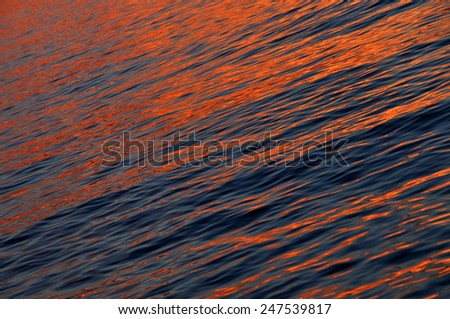 Beautiful orange sea sunset - stock photo