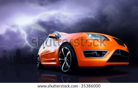 Beautiful orange sport car on dark sky with lightning - stock photo