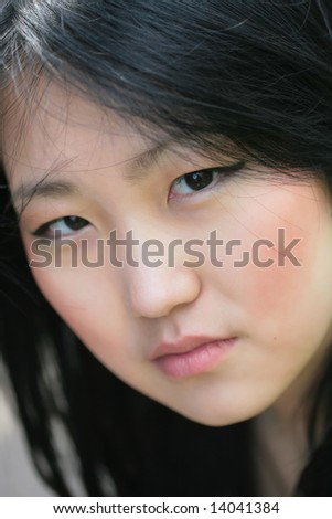 beautiful orient model, close-up - stock photo