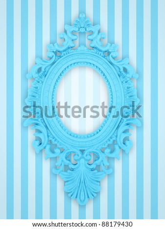 Beautiful ornamental frame on a pink stripy background - stock photo