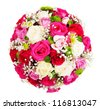 Beautiful ornamental wreath in the shape of sphere made of natural multicolored roses isolated on white - stock photo