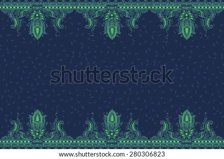 Beautiful ornate border paisley style. Seamless eastern tradition design - stock photo