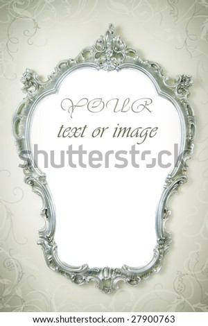 Beautiful Ornate Frame on the wall - stock photo