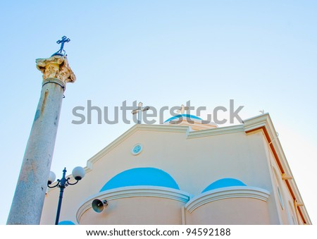Beautiful orthodox church in Kos island in Greece - stock photo