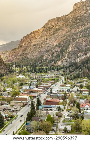 Beautiful Ouray located between high mountains - stock photo