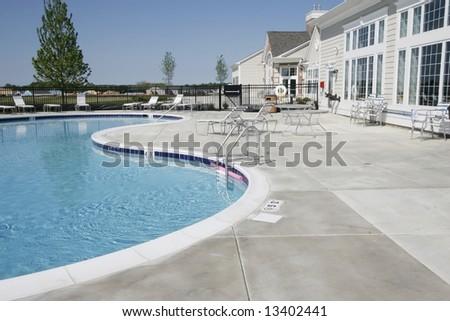 Beautiful outdoor swimming pool - stock photo