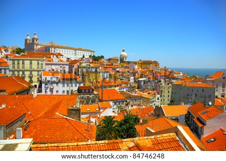Beautiful overview of Lisbon old city, Portugal - stock photo