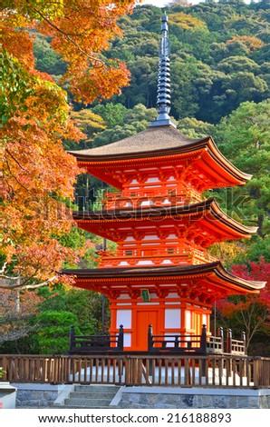 Beautiful Pagoda of Kiyomizu Temple in Japan - stock photo