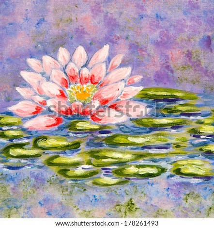 Beautiful painting of a Water Lily - stock photo