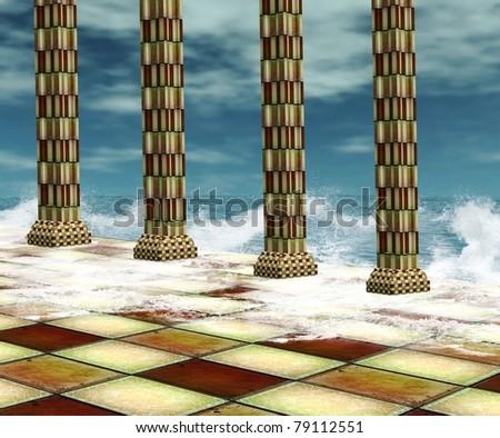beautiful palace and seascape - stock photo