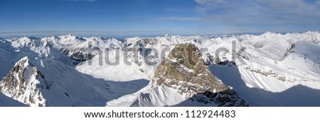 Beautiful panorama of austrian Alps near St. Anton - stock photo