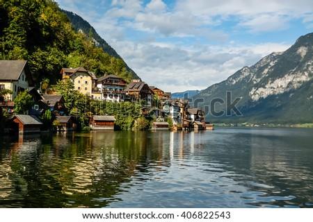 Beautiful panorama of Hallstadt, Austria. - stock photo