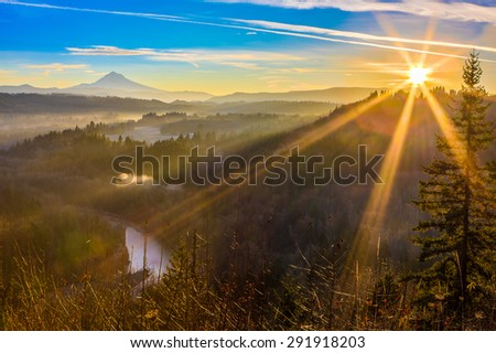 Beautiful Panorama of Mt. Hood taken during sunrise from Jonsrud view point in Sandy, Oregon, USA - stock photo