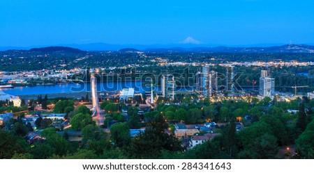 Beautiful Panorama of Portland Oregon at Night. - stock photo