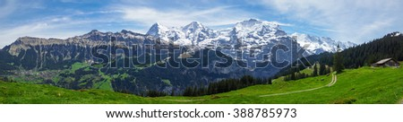 Beautiful panorama with green fields and snow capped mountains in the Swiss Alps - stock photo