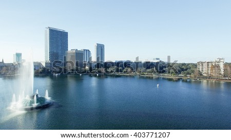 Beautiful panoramic aerial view of Orlando from Lake Eola. - stock photo