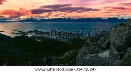 Beautiful panoramic landscape Lofoten Islands in Norway - stock photo