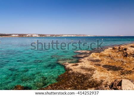 Beautiful panoramic sea view on Ayia Napa near of Cavo Greco, Cyprus island, Mediterranean Sea. Amazing blue green sea and sunny day. - stock photo
