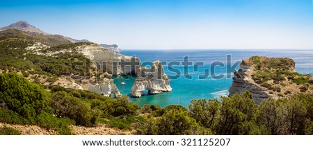 Beautiful panoramic seascape view of Kleftiko rocky coastline on Milos island, Greece - stock photo