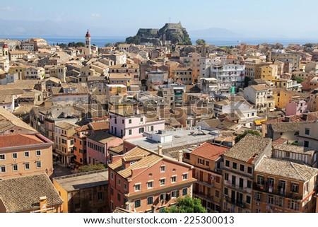 beautiful panoramic view of Corfu, Greece - stock photo
