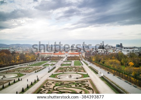 Beautiful panoramic view of the Belvedere of Vienna in autumn. - stock photo