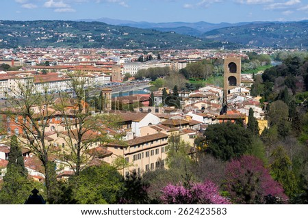 Beautiful panoramic view of the Florence from Boboli Gardens. Tuscany, Italy. - stock photo