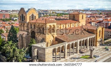 Beautiful panoramic view of the historic Basilica de San Vicente in Avila, Castilla y Leon, Spain - stock photo