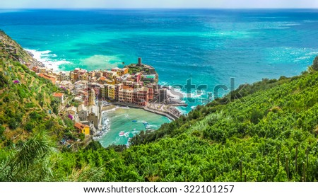 Beautiful panoramic view of Vernazza, one of the five famous fisherman villages of Cinque Terre, Liguria, Italy - stock photo