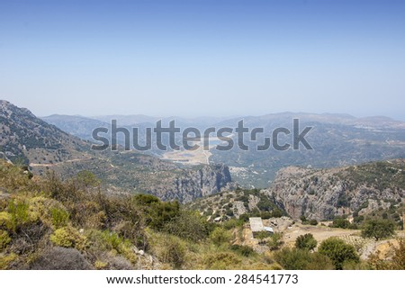 Beautiful panoramic view on the Plateau Lasithi at summer sunny day.Beautiful natural landscape.Crete island.Greece.Europe. - stock photo